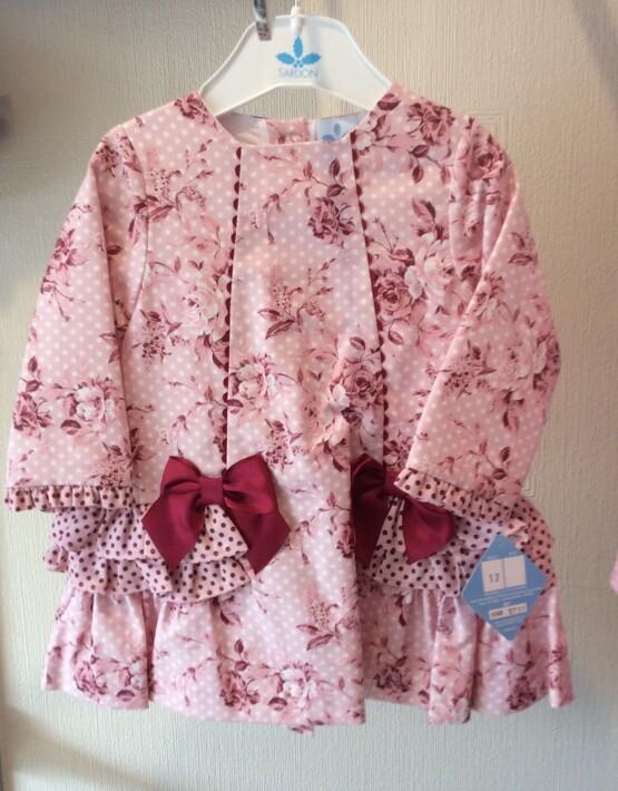 Girls Spanish Style dress by Sardon – Pink & Wine