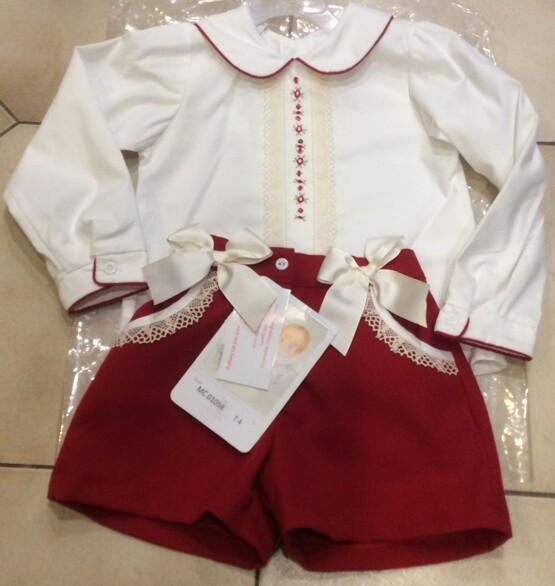 Pretty Originals Red and Cream Shorts Set MC01098