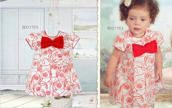 Pretty Originals Girls Large Red Bow Dress Ref BD01763