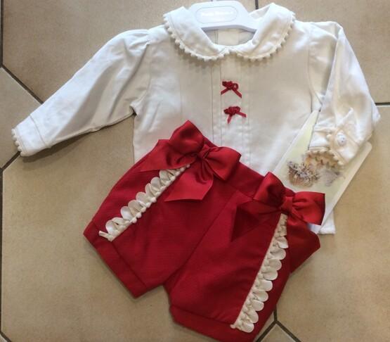 Pretty Originals Red/Cream Shorts and a Blouse set MB10637