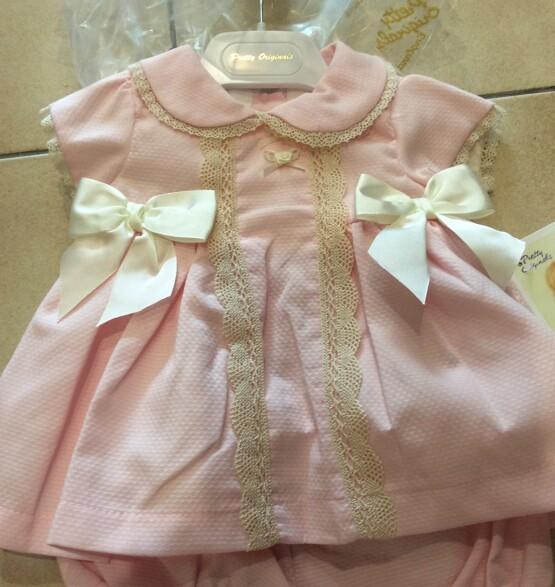 Pretty Originals Baby Girls Pink Dress with Cream Bows