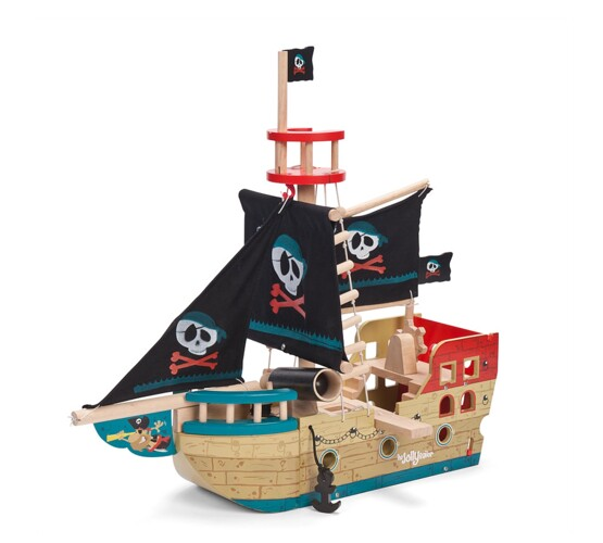 JOLLY PIRATE SHIP –  WOODEN PIRATE SHIP – LE TOY VAN