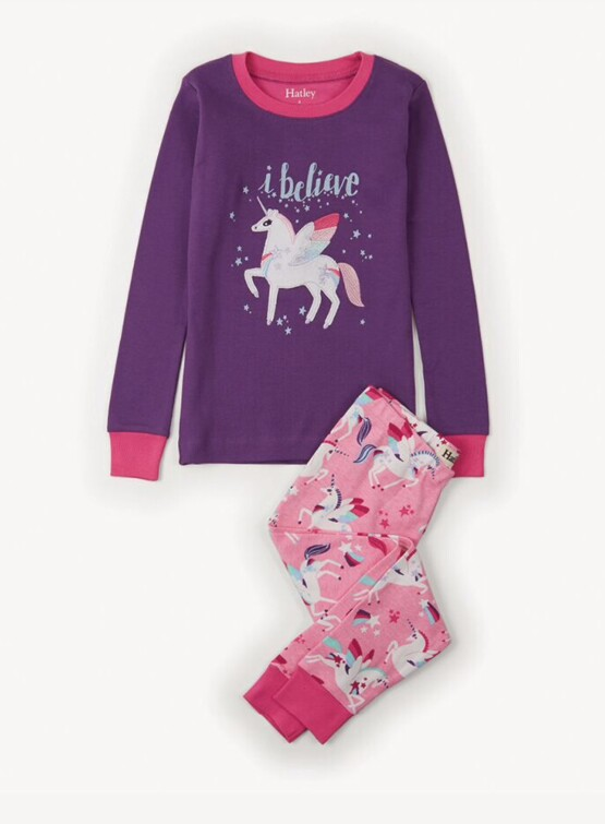 Hatley Girls Unicorn Appliqué  Pajamas