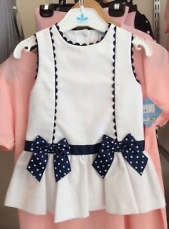 Girls Spanish Dress Valentina by Sardon – White and Navy