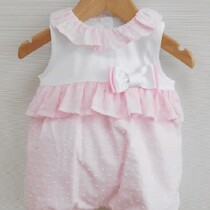 Baby Girls Pink & White Frill Collar Summer Romper by Sardon