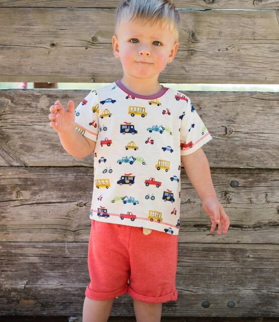 Hatley Boys Orange Shorts and Multi Car Tee