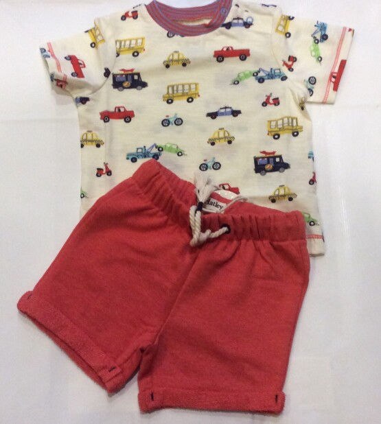Hatley Orange Shorts and Multi Car Tee