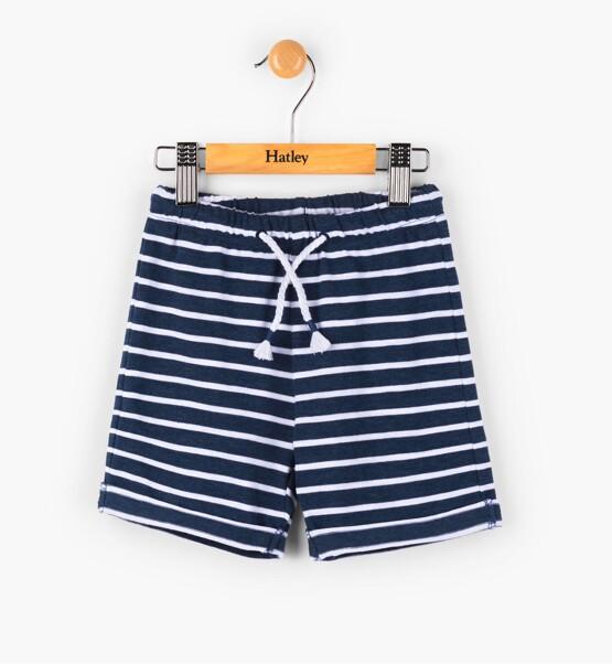 Hatley Navy Striped Mini Pull on Shorts