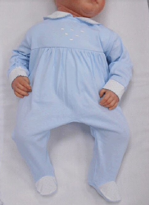 Baby Boy Blue and White Peter Pan Collar  Summer Romper