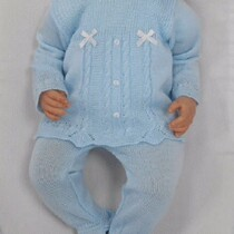 Baby Boy Blue and White Peter Pan Collar Summer Knit 2 Pcs