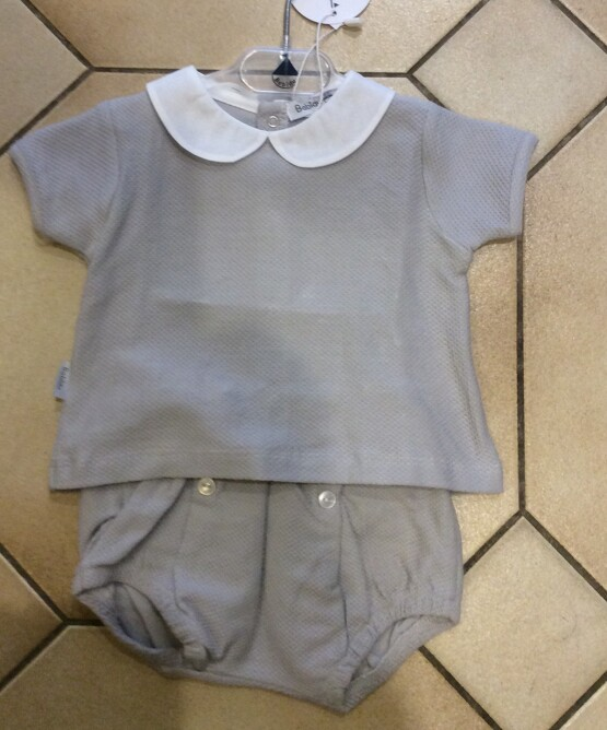 Babidu Grey Peter Pan Collar Grey Shorts Set