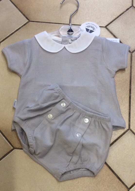Babidu Baby  Grey 2 piece Shorts Set with Peter Pan Collar