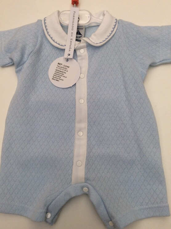 Babidu Baby Boys Blue Peter Pan Collar Short Romper