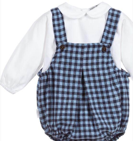 Babidu Baby 2 Piece Blue Check Set – Short Romper and Peter Pan Collar Top
