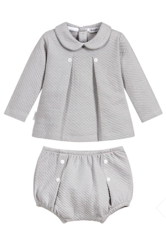 Babidu Baby 2 Piece Grey  Set – Shorts and Box Pleat Peter Pan Top
