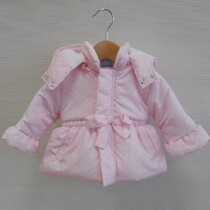 Sardon Pink Polka Dot Coat with Hood