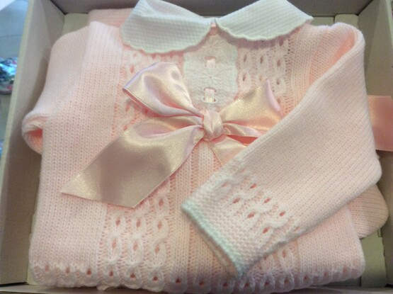 Sardon Knitted Pink 2 Piece Set in Pink with Peter Pan Collar