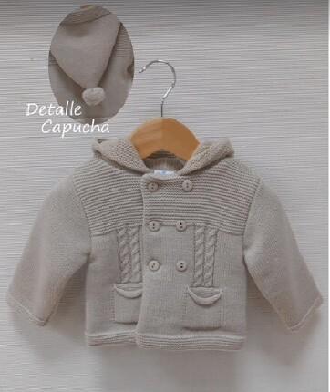 Sardon Beige Heavy Hooded  Knit Jacket
