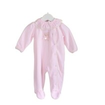 Velour Pink Babygrow with Tedd Motif