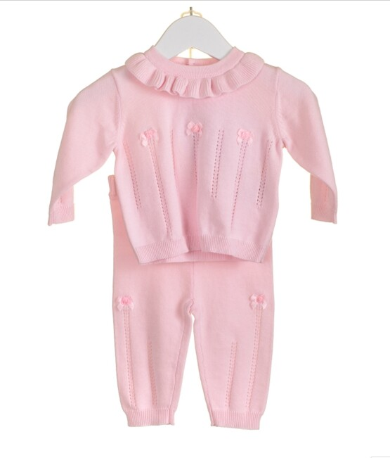 Blues Baby Frill collar Knitted Set in Pink