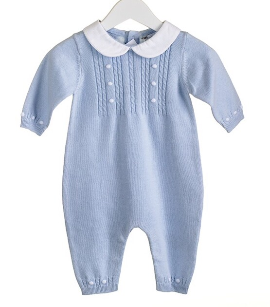 100% Cotton Knitted Blue Romper with Peter Pan collar