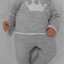 Sardon Grey 2pc  Knit Set with Crown