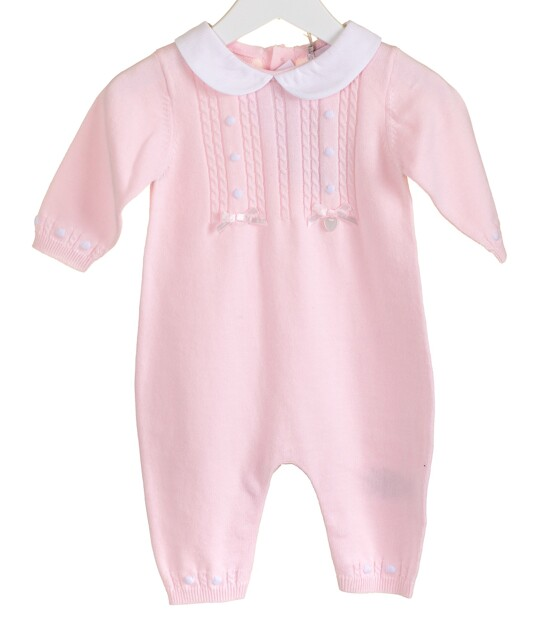 100% Cotton Knitted Babygrow with Peter Pan collar