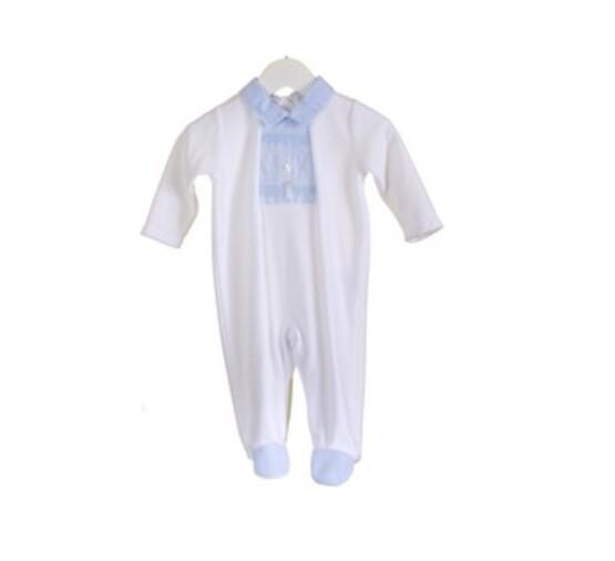 Velour White with Blue Detail  Babygrow