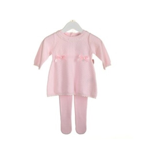 Blues Baby 100% Cotton  Knitted Pink Dress and Tights