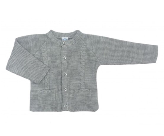 Sardon Grey Cable Knit Cardigan with front pockets
