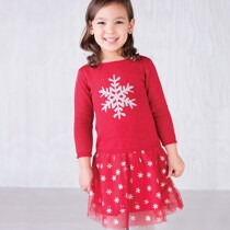 Glitter Snowflake Dropped waist Dress by Hatley