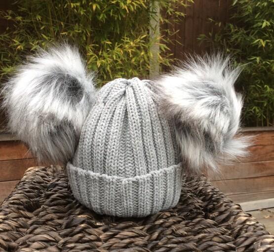 Double Pom Pom Faux Fur Hat – Grey