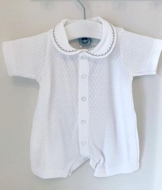Babidu Baby White Peter Pan Collar Short Romper
