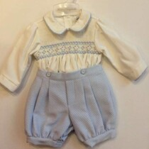 Pretty Originals Boys Blue and Cream Smocked Set