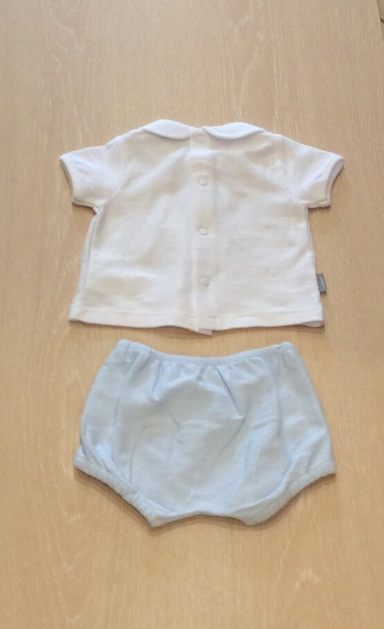 Babidu Smocked Blue Shorts Set with Peter Pan Collar Ref 43320