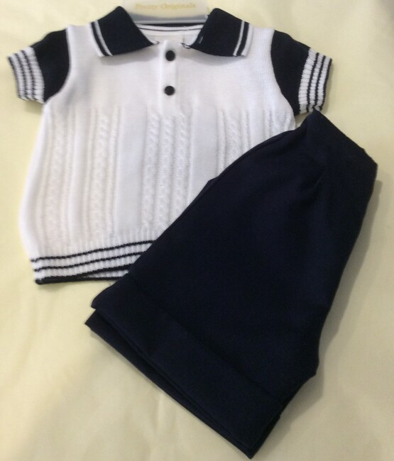 Pretty Originals Boys Navy and White Summer  Knit Shorts Set