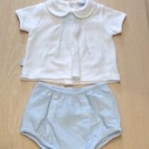 Babidu  2 Piece Blue Smocked  shorts Set with Peter Pan Collar