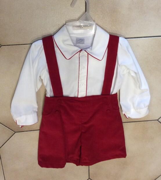 Pretty Originals Boys Ivory Shirt and Red Shorts Set