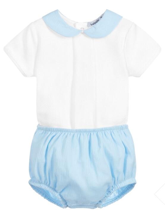 Babidu  2 Piece Blue Shorts Set – Peters Pan Collar