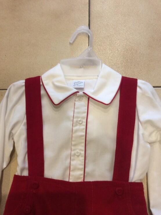 Pretty Originals Red Short Dungaree & Long Sleeve Peter Pan Collar Shirt
