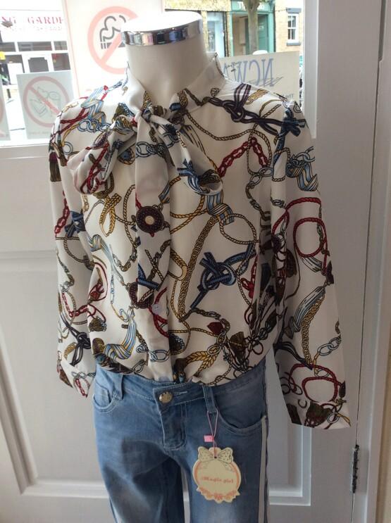 Girls White Printed Long Sleeve Blouse