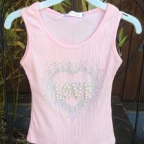Girls Glitter & Pearls Pink Summer Vest Top