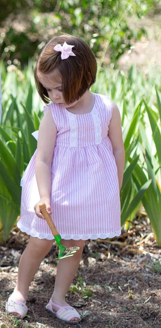 Babidu Peter Pink Candy Striped Dress
