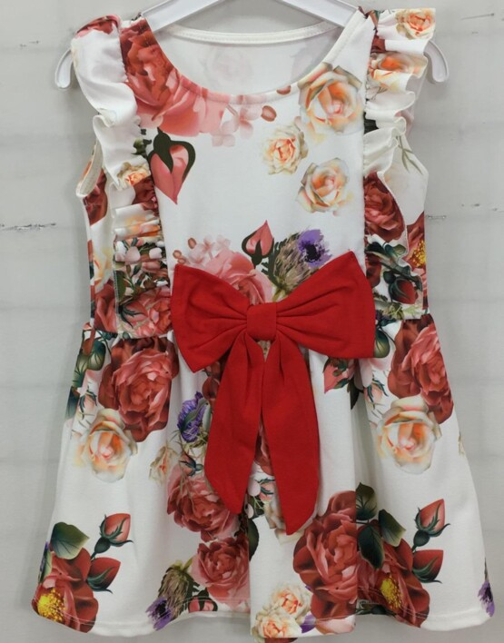 Girls Red Bow Floral Dress
