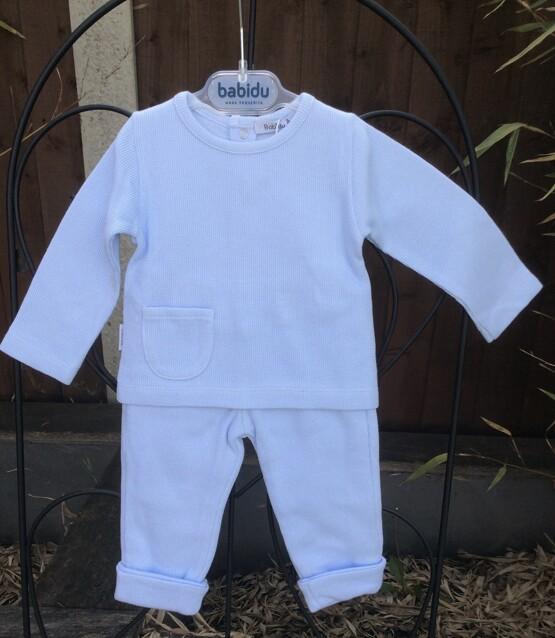 Babidu Baby 2 Piece Blue Trackie Set –  Round Neck