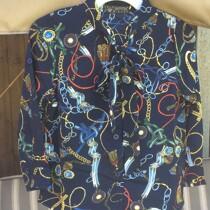 Girls Navy Printed Long Sleeve Blouse
