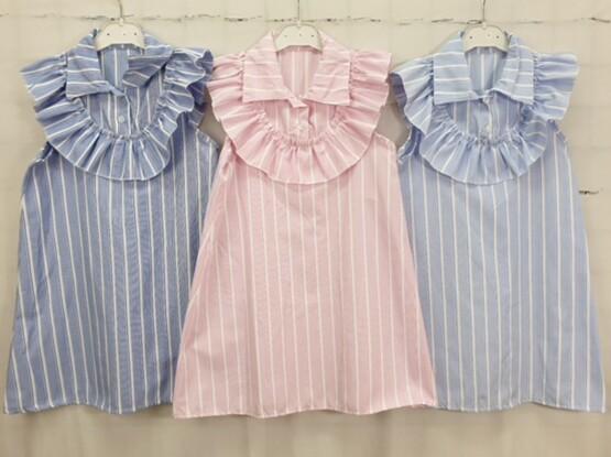 Girls Blue Striped Dress