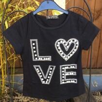 Girls Glitter & Pearls Black Summer Tee Shirt