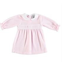 Babidu Baby Girl Pink Velour Dress with Smocking