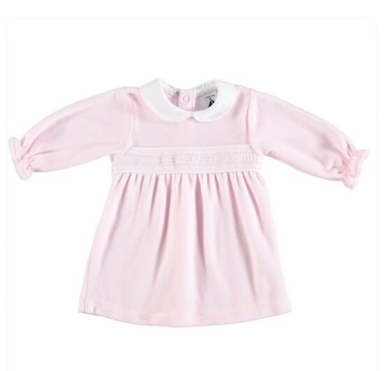 Babidu Baby Girl Pink Velour Dress with Smocking